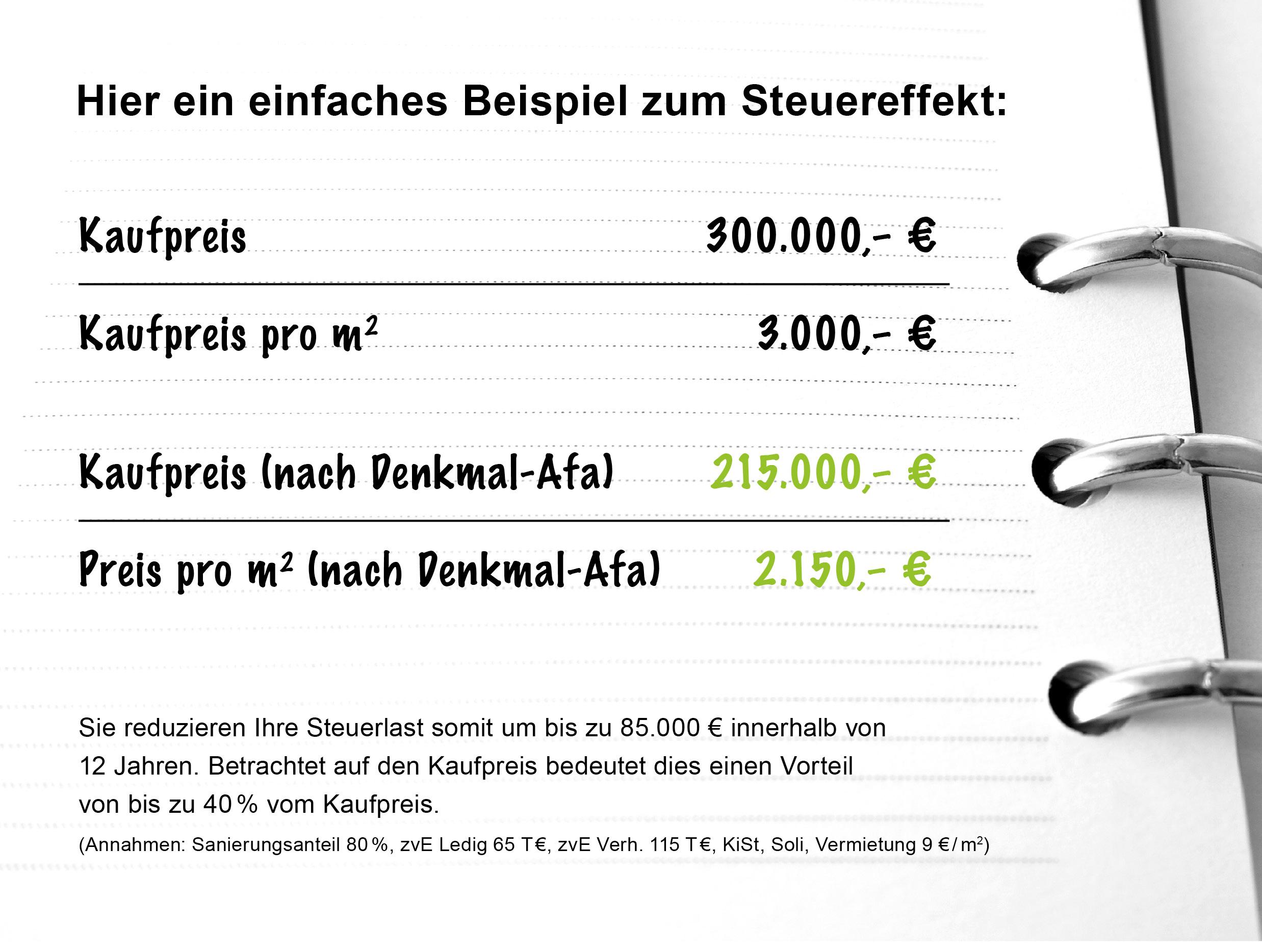 Beispiel der Steuereffekt-Berechnung